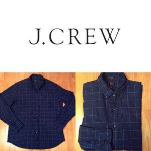 J. Crew Slim Fit Navy Blue Linen Button down L